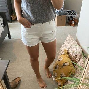 A&F white high rise shorts